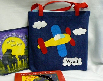 Kids Tote Bag|Personalized Tote Bag|Trick or Treat Bag|Airplane Tote Bag|Boys Tote Bag|Gift For Grand Kids|Toddler Tote Bag|Kids Library Bag