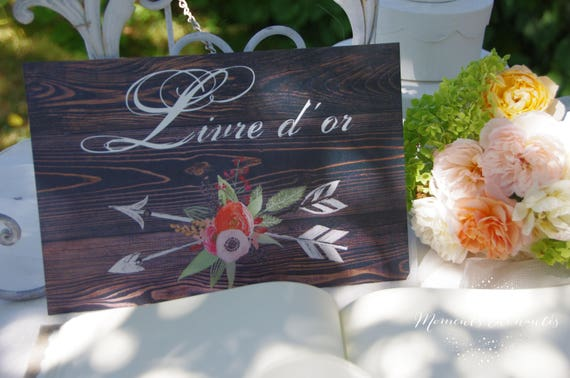 "Wedding board "" Livre d'or "" ou "" Guestbook "" wood watercolor"