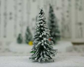 "Snowy Evergreen Tree - 3"" - Set of 3 miniature  doll house tree miniature tree fairy garden diorama mini trees tree set - 218-0403"