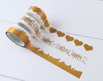 "Set of 3 washi tapes with gold details (hearts, paint, ""choose happy"") (W02)"