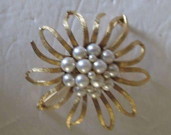 BSK Goldtone Brooch Pin Large Floral Shape Pearl Center