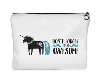 Be Awesome Unicorn Cosmetic bag, Pencil Case, Makeup Bag, Clutch, zipper pouch, travel bag, best friend gift, gift for mom