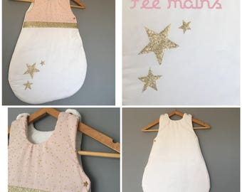 Swaddle baby girl 0-6 months pink, white and gold glitter with stars