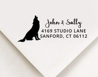 Wolf Return Address Stamp, Custom Stamp, Self Inking Stamp, Wedding Address Stamp, Custom Address Stamp, Housewarming Gift, Realtor Gift