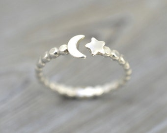 Moon and Star ring, Moon ring, Star ring, Moon Star jewelry, Moon jewelry, Crescent Moon ring, 100% Handmade, Solid 925 Sterling silver ring