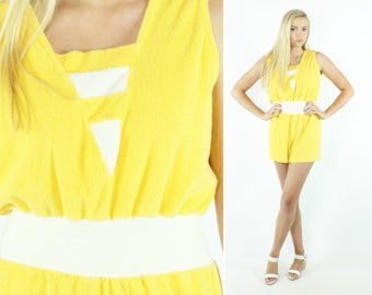 Vintage 80s Shorts Romper Yellow Terry Cloth Sleeveless Swimsuit Coverup 1980s Large L Sunsuit Playsuit Jumpsuit
