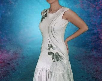 Alternative Wedding Dress Tea Length. Adult Woodland Fairy Dress in Cream and Green. Beach Wedding. Nuno Felted Dress. Silk Fairy Dress.