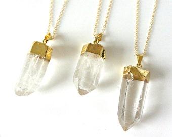 Raw Quartz Crystal Necklace, Crystal Necklace, Gold Long Necklace, Clear Crystal Point Necklace, Layering Jewelry, Boho Minimalist Necklace