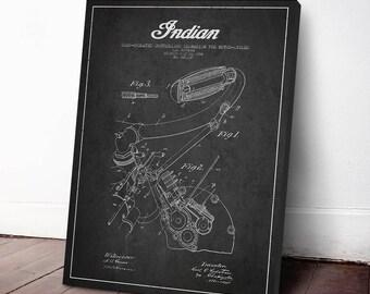 1904 Indian Motorcycle Patent Print, Canvas Print, Patent Art, Patent Decor, Wall Art, Home Decor, Gift Idea, TRBM10C