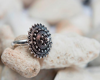 Statement Ring, Adjustable Ring, Sterling Silver Ring, Dome Ring, Boho Ring, Oxidized Silver Ring, Ethnic Ring, Tribal Ring, Ornate Silver