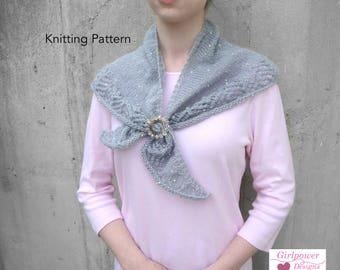 Shoulder Shawl Knitting Pattern, Small Shawl Wrap, Triangle Scarf, Lace Edge, Sport DK Yarn