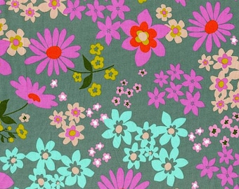 Vintage Floral Aqua (Cotton Lawn) - Playful - Melody Miller - Cotton & Steel - 1 Yard