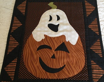 Brother Jack Halloween Pumpkin Ghost Quilted Wall Hanging
