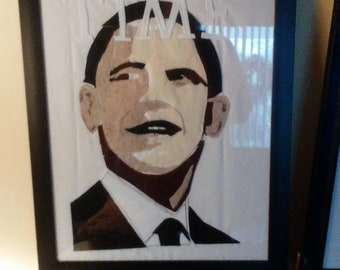 "Barak Obama  Ameican President Portrait,  Felt on Cotton  12 x 15"" You Frame"