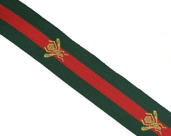 Green Red Striped Ribbon Trim with Bee, Grosgrain embroidered Ribbon Trim, Choker  Ribbon Trim