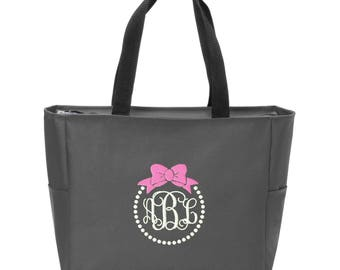 Bow and Pearls Embroidered Monogrammed Zip Tote