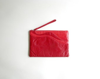 Vintage Red Leather and Snakeskin Wristlet Clutch Purse