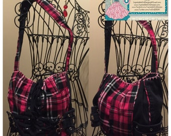 Pink plaid corset purse