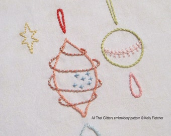 All That Glitters modern hand embroidery pattern - modern embroidery PDF pattern, digital download