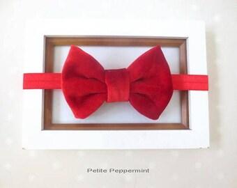 Red velvet bow baby headband, baby head band bow, newborn headband, toddler headband, baby hair bow, girl headband, girl headband