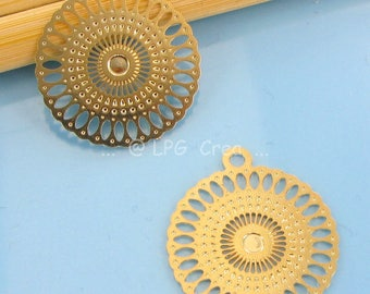 """2 prints """"Stylized round"""" - color gold - 18mm #M80 diam."""