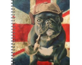 Frenchie A6 Spiral Notebook, Back to School Natural History Sketchbook, Spiral Bound Writing Journal Pocket Paper Notebooks