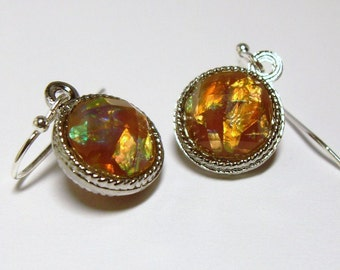 Opal in the Autumn Sky Earrings Round, Fall Autumn Earrings, Bridesmaids earrings, Fall Autumn Birthday gift, Thank you gift, Teacher