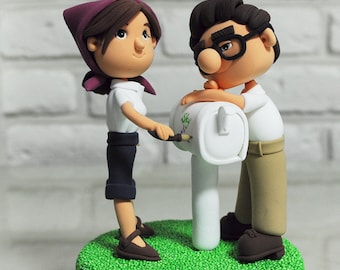 Promotion Wedding Cake Topper - Carl and Ellie Cake Topper - Up Wedding Cake Topper