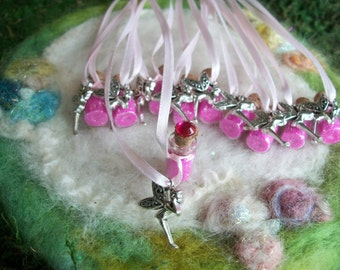 Pink Tink Fairy Party Favors 10 Flower Fairy Necklace Pixie Glitter Sparkle Party Favors Birthday Thank You Gift Necklace
