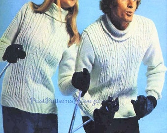 Vintage Knitting Pattern His & Hers Cable and Rib Aran Turtleneck Sweaters PDF Instant Digital Download Womens Mens Pullover 8 Ski Sweater
