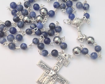 Blue Rosary Beads, Traditional Five Decade, Catholic Rosary, Gemstone Rosary, Sodalite, Communion, Confirmation, Birthdays