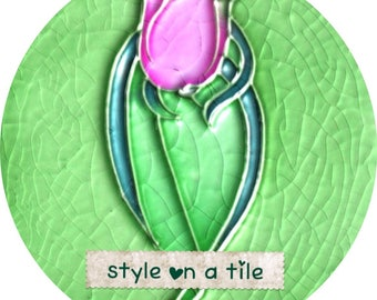 "Lovely Art Nouveau Pink Green Turquoise Tulip flower design  23cm or 9"" round placemat table mat server centrepiece"
