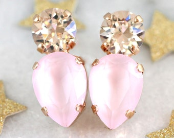 Pink Earrings, Dusty Pink Earrings, Bridal Rose Quartz Studs, Swarovski Pink Earrings, Powder Pink Earrings, Bridesmaids Pink Earrings