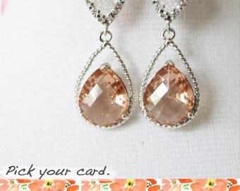 Magda- Silver Champagne Teardrop Crystal Earrings, Champagne Bridesmaid Earrings, Bridal Wedding Jewelry, Cubic Zirconia earrings