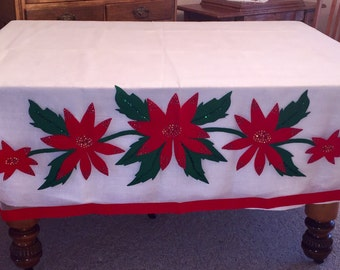 Festive handmade Christmas tablecloth cover nylon net with poinsettias and sequins; with lining linen tablecloth. Reduced Price !
