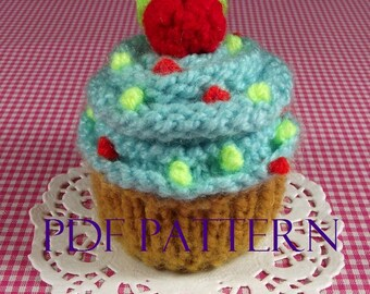 KNITTING PATTERN Cupcake Amigurumi Food - Blue Frosting Cupcake - Pincushion Pattern Instant Download PDF knit dessert food pattern