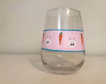 Easter Bunny Easter egg hand painted stemless wine glass