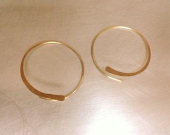 Gold 14k 20mm Open Hoop Earrings - Handmade Gold Filled 14k Hoop Earrings