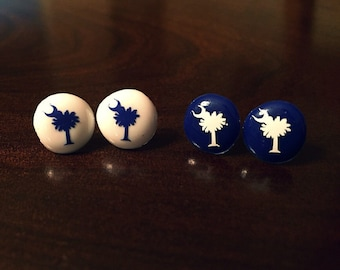 Palmetto Tree and crescent moon South Carolina pride dot button stud earrings