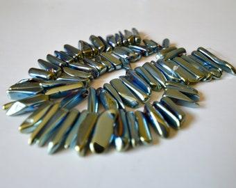 "Crystal Quartz points beads Titanium Blue & Green Beads Polished Crystal Spike Stick full strand 15.5""  15-35mm (l) x 3-7mm (w)"