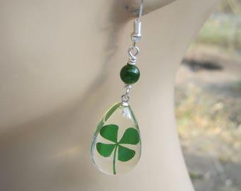 Four Leaf Clover Earrings, Sterling Silver, REAL Pressed Clover Earrings, Botanical Drop Jade Earrings, Clear & Green, St Patricks Day