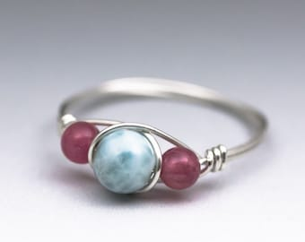 Larimar Blue Pectolite & Pink Tourmaline Sterling Silver Wire Wrapped Gemstone Bead Ring - Made to Order, Ships Fast!