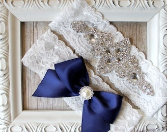 12 Colors Avail.- Bridal Garter - Vintage Wedding Garter Set with Pearls and Rhinestones on Comfortable Lace, Crystal Garter Set