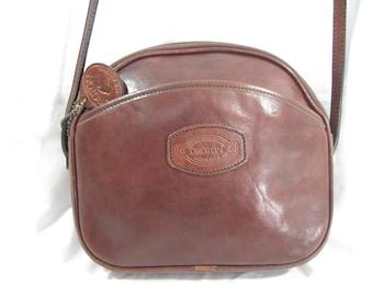 Genuine vintage OROTON brown leather shoulder bag with logo crossbody