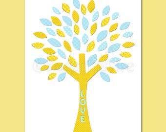 yellow and blue nursery art Print, 8x10, Kids Room Decor, baby boy wall art- love tree