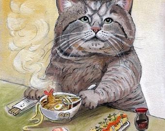SUSHI CAT Tempura Udon signé imprimé 8.5 x 11