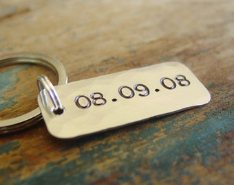 Date Keychain, Custom Hand Stamped, Personalized Gift, Metal Anniversary Date, Anniversary Gifts For Men,Husband,Special Date,Sobriety Gift