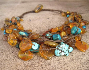 Honey Baltic Amber Turquoise Necklace, Honey Blue Teal Yellow Sun