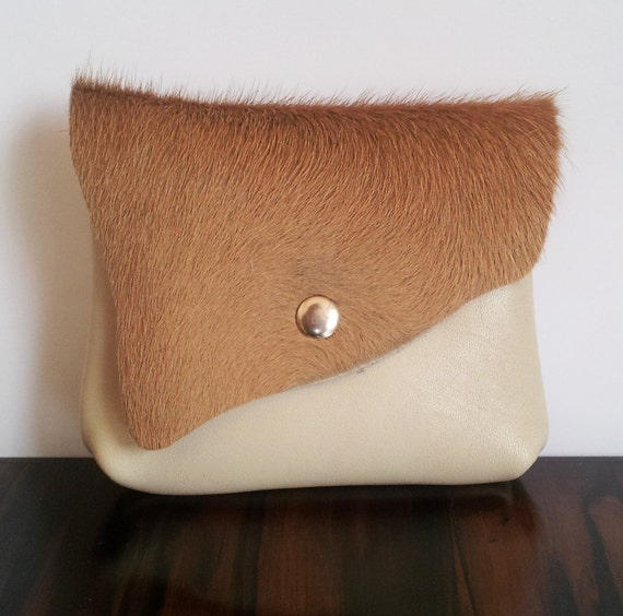 Cowhide Leather purse with flap, tan and cream, for coins, cardholder, lipstick and make up purse.