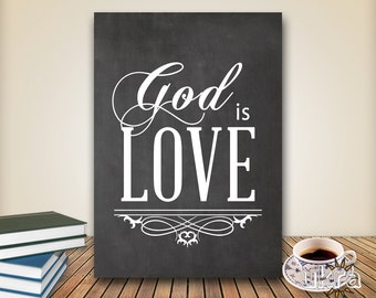 Chalkboard Art Bible Verse Wall Art,God is Love, Printable Scripture Print Christian wall decor,instant download,Love printable,Bible Quote